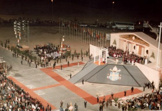Alumbrado especial con motivo de la visita a Zaragoza de SS Juan Pablo II   en Octubre de 1984.